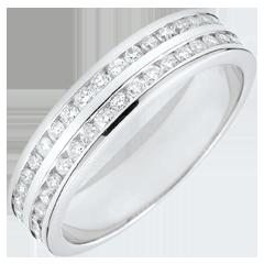 Fede oro bianco semi pavée - incastonato rotaia 2 file - 0.32 carati - 32 diamanti