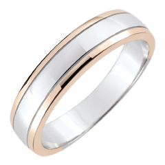 Alliance homme Horizon - or blanc et or rose 9 carats