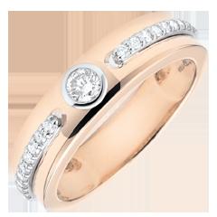 Bague Solitaire Promesse - or rose et diamants