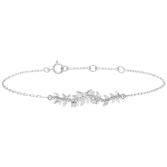 Bransoletka Zaczarowany Ogród - Królewskie Liście - złoto białe 18-karatowe i diamenty