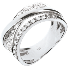 Bague Royale Saturne variation - or blanc