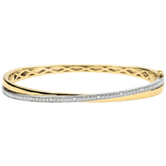 Bangle Saturnus Duo - 9 karaat geelgoud - Diamanten