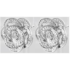 Boucles d'oreilles Éclosion - Rose Dentelle - or blanc 9 carats et diamants