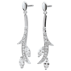 Pendientes Bosque Misterioso - oro blanco 18 quilates y diamantes de forma marquesa