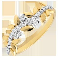 Anello Giardino Incantato - Fogliame Reale - Modello grande - diamenti e oro giallo - 9 carati