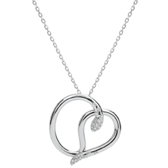 Collier Balade Imaginaire - Serpent d'amour - or blanc 9 carats diamants