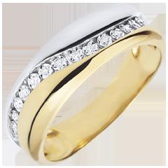 Bague Amour - Multi-diamants - or blanc et or jaune 9 carats