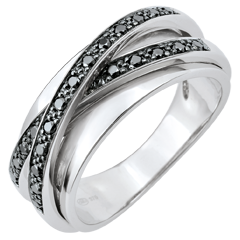 Bague Saturne Miroir - or blanc et diamants noirs - 23 diamants - 9 carats
