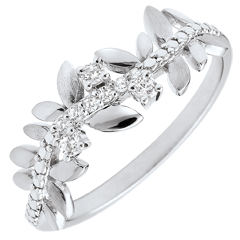 Anello Giardino Incantato - Fogliame Reale - Modello grande - diamenti e oro bianco - 9 carati