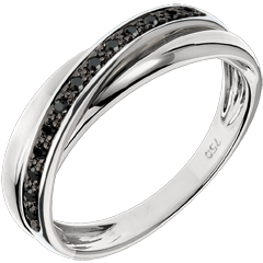 Obrączka Saturn z diamentem - 13 czarnych diamentów i białe złoto 18-karatowe