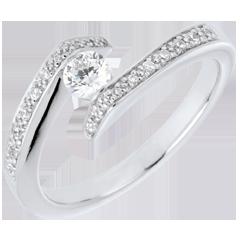 Solitario acompañado Nido Precioso - Promesa - oro blanco - diamante 0.22 quilates - 9 quilates
