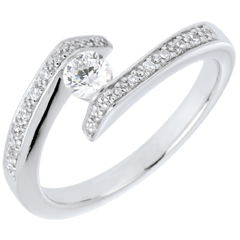 Solitario acompañado Brillo Eterno - Promesa - oro blanco - diamante 0.22 quilates - 9 quilates