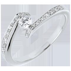 Anillo solitario acompañado Nido Precioso- Promesa -  oro blanco-3 diamamantes 0.15 quilates-  18 quilates