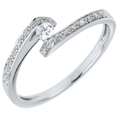 Anello Solitario accompagnato Nido Prezioso - Promesso - oro bianco - diamante 0.08 carati