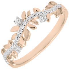 Bague Jardin Enchanté - Feuillage Royal - diamant et or rose - 18 carats