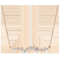 Collier Verzauberter Garten - Königliches Blattwerk - Roségold und Diamanten - 18 Karat