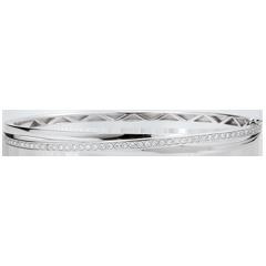 Bracelet Jonc Saturne Diamant - or blanc 9 carats