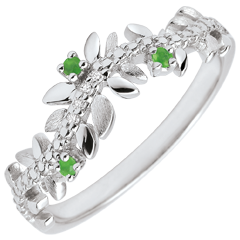 Anillo Jardìn Encantado - Follaje Real - oro blanco 9 quilates - diamantes e esmeraldas