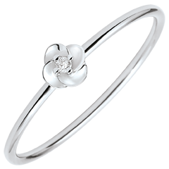 Anello Sboccio - Prima di rosa - piccolo modello - oro bianco e diamante - 9 carati