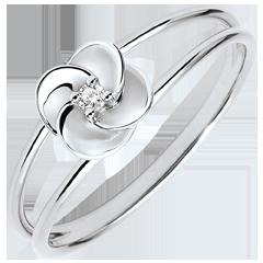 Anello Sboccio - Prima di rosa - oro bianco e diamante - 9 carati