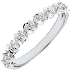 Anello Sboccio - Corona di rose - piccolo modello - oro bianco e diamanti - 9 carati
