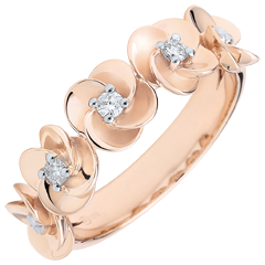 Bague Eclosion - Couronne de Roses - or rose et diamants - 18 carats