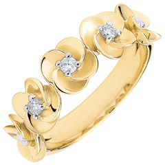 Bague Eclosion - Couronne de Roses - or jaune et diamants - 9 carats