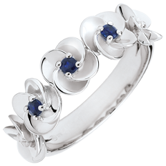 Ring Eclosion - Roses Crown - white gold and sapphires - 9 carats