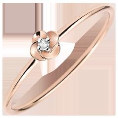 Anello Sboccio - Prima di rosa - piccolo modello - oro rosa e diamante - 9 carati