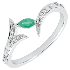 Anello Foresta Misteriosa - piccolo modello - oro bianco e smeraldo navetta - 9 carati