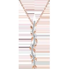 Collier tige Jardin Enchanté - Feuillage Royal - or rose 9 carats et diamants