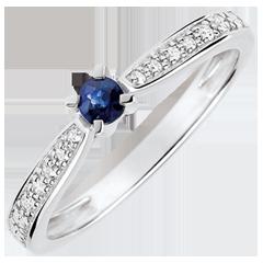 Anello solitario Garlane 4 artigli - zaffiro 0.14 carati e diamante - 18 carati oro bianco.