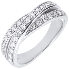Anneau Saturne Diamant - or blanc - 29 diamants - 9 carats