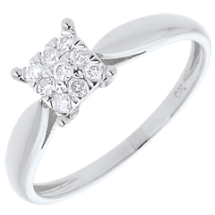 Anillo caña oro blanco empedrado - 9 diamantes