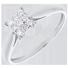 Anello Ramoscello oro bianco pavé - 9 diamanti