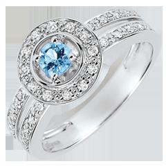 Bague de Fiançailles Destinée - Lady - topaze 0.2 carat et diamants - or blanc 18 carats