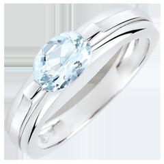 Anello di fidanzamento Vittoria variazione - 0.65 carati aquamarina - oro bianco 18 carati