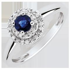 Anillo de compromiso Doble Halo - zafiro y diamantes 0.3 quilates - oro blanco 18 quilates