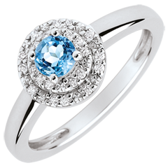 Bague de Fiançailles Double halo - topaze 0.3 carat et diamants - or blanc 18 carats