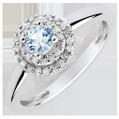 Bague de Fiançailles Destinée - Double halo - aigue-marine 0.23 carat et diamants - or blanc 18 carats