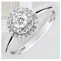 Anillo de compromiso Doble Halo - diamante 0.25 quilates - oro blanco 18 quilates