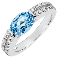 Anillo de compromiso Victoria - topacio y diamantes 1.5 quilates - oro blanco 18 quilates