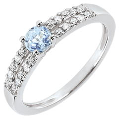 Anillo de compromiso Margot - aguamarina y diamantes 0.23 quilates - oro blanco 18 quilates