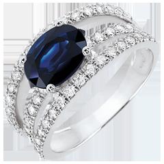 Destiny Engagement Ring - Duchess variation - 1.7 carat sapphire and diamonds - white gold 18 carats