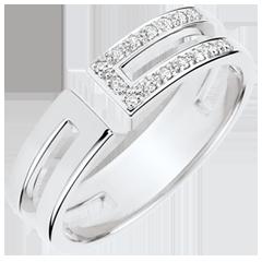 Anello Gloria - 15 diamanti - oro bianco 9 carati