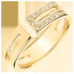 Anello Gloria - 15 diamanti - oro giallo 9 carati