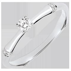 Anillo de compromiso jungla Sagrada - diamante 0,09 quilates - oro blanco 9 quilates