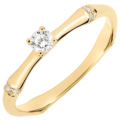 Anillo de compromiso jungla Sagrada - diamante 0,09 quilates - oro amarillo 9 quilates