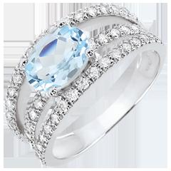 Anillo de Pedida Destino - Duquesa variación - topacio y diamantes 1.5 quilates - oro blanco 18 quilates