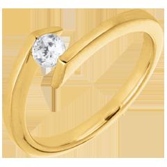 Bague solitaire Princesse étoile or jaune - diamant 0.22 carat